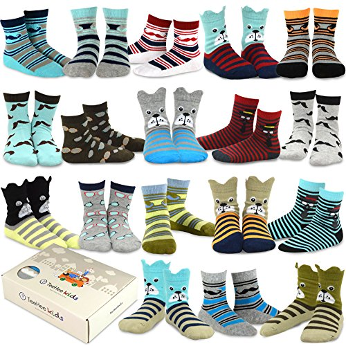 (TeeHee Kids Boys Fashion Cotton Crew 18 Pair Pack Gift Box (3-5Y, Dog and Gentle))