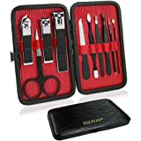 ZIZZON Travel Mini Manicure set Nail Clipper set 10 in 1 Stainless Steel Pedicure Care Grooming kit with Case Black
