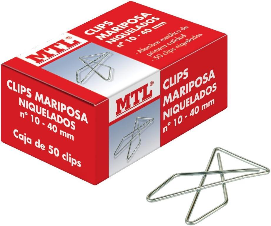 MTL 79198 - Pack de 50 clips, diseño mariposa, número 10, 40 mm: Amazon.es: Oficina y papelería