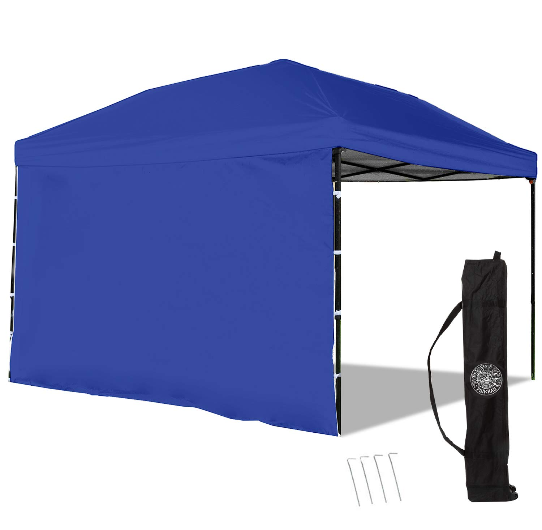 Punchau Pop Up Canopy Tent with Sidewall 10 x 10 Feet, Blue - UV Coated, Waterproof Instant Outdoor Gazebo Tent, Bonus Roller Carry Bag by Punchau