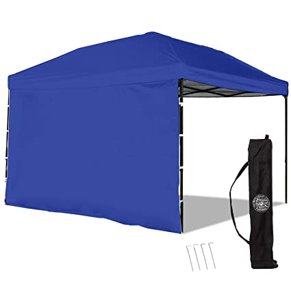 Punchau Pop Up Canopy Tent with Sidewall 10 x 10 Feet, Blue - UV Coated,  Waterproof Instant Outdoor Gazebo Tent, Bonus Roller Carry Bag