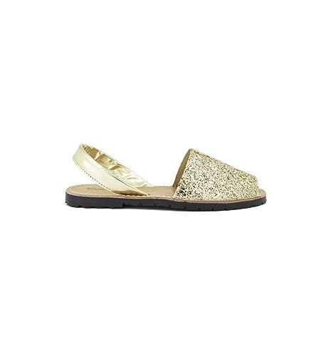 Zapattu - Menorquinas Platino Piel con Purpurina: Amazon.es: Zapatos y complementos