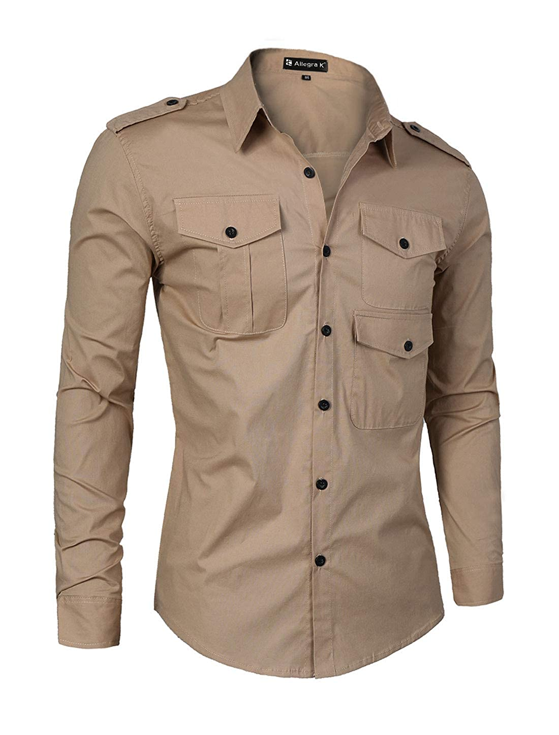 uxcell Men Slim Fit Long Sleeve Solid Color Point Collar Stretchy Casual Shirt