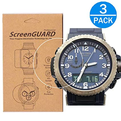 [3-Pack] for Casio PRW-50 Watch Screen Protector,Full Coverage Screen Protector for PRW50 Watch HD Clear Anti-Bubble and Anti-Scratch