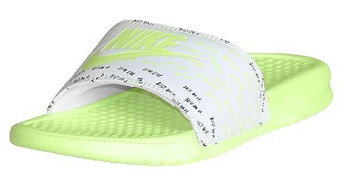 bda183aa6 Nike Women s Benassi JDI Print White Barely Volt Slide Sandal Size 6