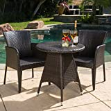 "GDF Studio 296210 Costa Outdoor Patio Multi-Brown Round 3pc Bistro Set, Table Dimension L x 26.00""W x 28.50""H"