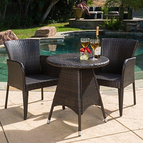 """GDF Studio 296210 Costa Outdoor Patio Multi-Brown Round 3pc Bistro Set, Table Dimension L x 26.00""""W x 28.50""""H"""
