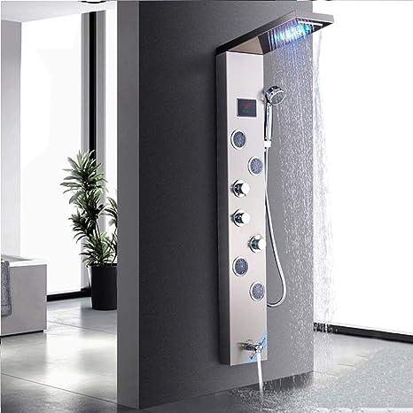 Jimmy Jet LED Duschpaneel aus rostfreiem Edelstahl mit Temperaturanzeige und 10 Massaged/üsen Nickel geb/ürstet