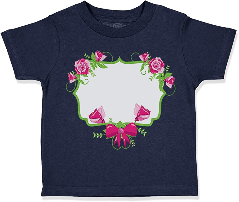 Custom Toddler T-Shirt Roses Frame Square Green Cotton Boy /& Girl Clothes
