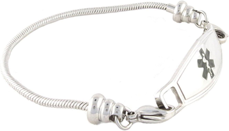 N Style ID Women s Beaded Pan-dorra Style PRE-ENGRAVED No MRI Medical Id Bracelet – Black 6.75