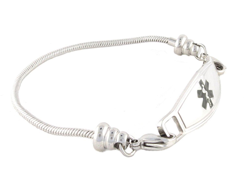 N Style ID Women's Beaded Pan-dorra Style PRE-ENGRAVED''Defibrillator'' Medical Id Bracelet - Black 7.75
