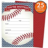 Health & Personal Care : Baseball Party Invitations in Red and Navy. Set of 25 Baseball Themed Cards and Envelopes for Kids Birthday Parties, Baby Showers and Sprinkles, Bachelor or Bachelorette Parties, or Any Occasions.