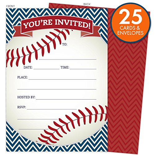 Baseball Party Invitations in Red and Navy. Set of 25 Baseball Themed Cards and Envelopes for Kids Birthday Parties, Baby Showers and Sprinkles, Bachelor or Bachelorette Parties, or Any Occasions. Baby Birthday Party Invitations
