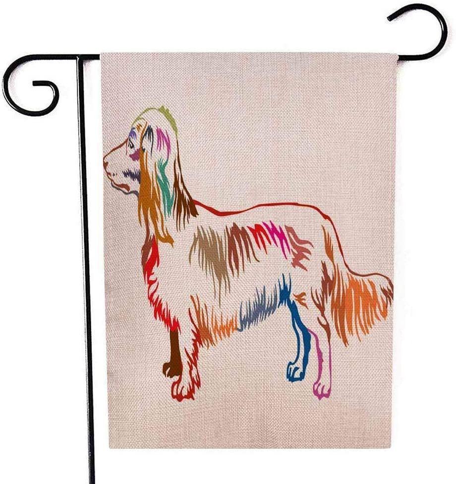MOVE CC Dachshund Art Garden Flag Double Sided Burlap Decoration 12.5x18 for Yard Outdoor Decor Garden Flag Colorful Contour Portrait of Standing in Profile Dog Longhaired Dachshund Isolated on White