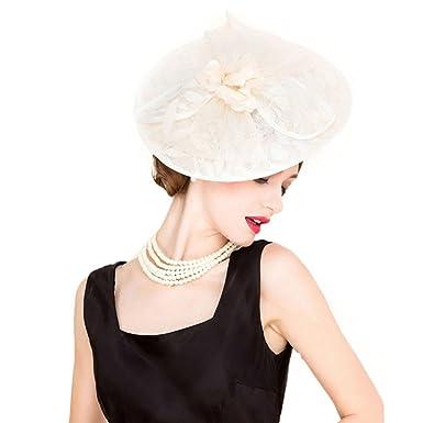 Linen Wedding Dress.Womens Fascinators Linen Wedding Dress Hat Beige White