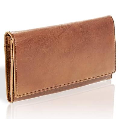 6365d249c4d105 bluzelle Echt-Leder Männer Geldbörse - Robuste Langlebige Brieftasche mit  Multi-Kartenhaltern und Bargeldfächern