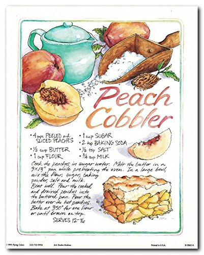 Wall Decor Homemade Peach Cobbler Recipe Food Pie Dessert Kitchen Art Print Poster (8x10)