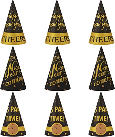 amazon com amosfun happy new year party hats fancy new year paper cone hat cheers new year party favors for new years eve party decorations pack of 9 black gold clothing amosfun happy new year party hats fancy new year paper cone hat cheers new year party favors for new years eve party decorations pack of 9 black gold