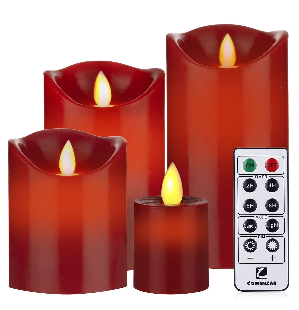Flameless Candles Red Battery Operated Candles with Remote Timer Set of 4(H4''5''6''x D 3'')Flickering Candles by Comenzar(Batteries not included)