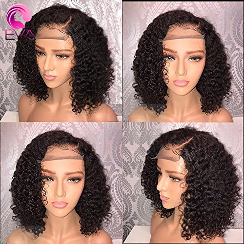 EVA HAIR Short Human Hair Wigs Pre Plucked Brazilian 13x6 Lace Front Human Hair Wigs With Baby Hair Curly Human Hair Short Bob Wigs(10 inch with 150% density) -