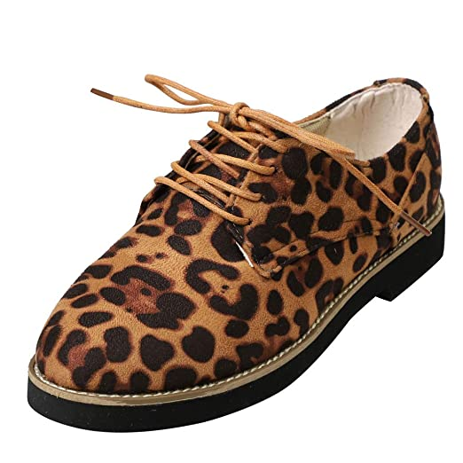 Cenglings Women Plus Size Round Toe Leopard Print Ankle Flat Suede Casual Lace Up Shoes Single