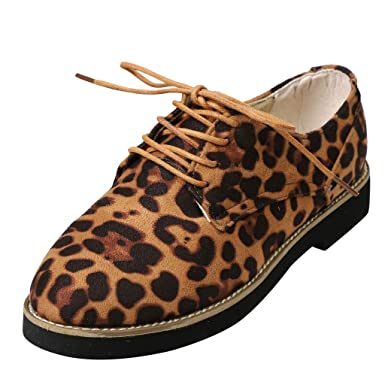 Women Leopard Print Ankle Flat Suede Casual Lace Up Shoes Single Shoes By Sunsee 2019 Clearance
