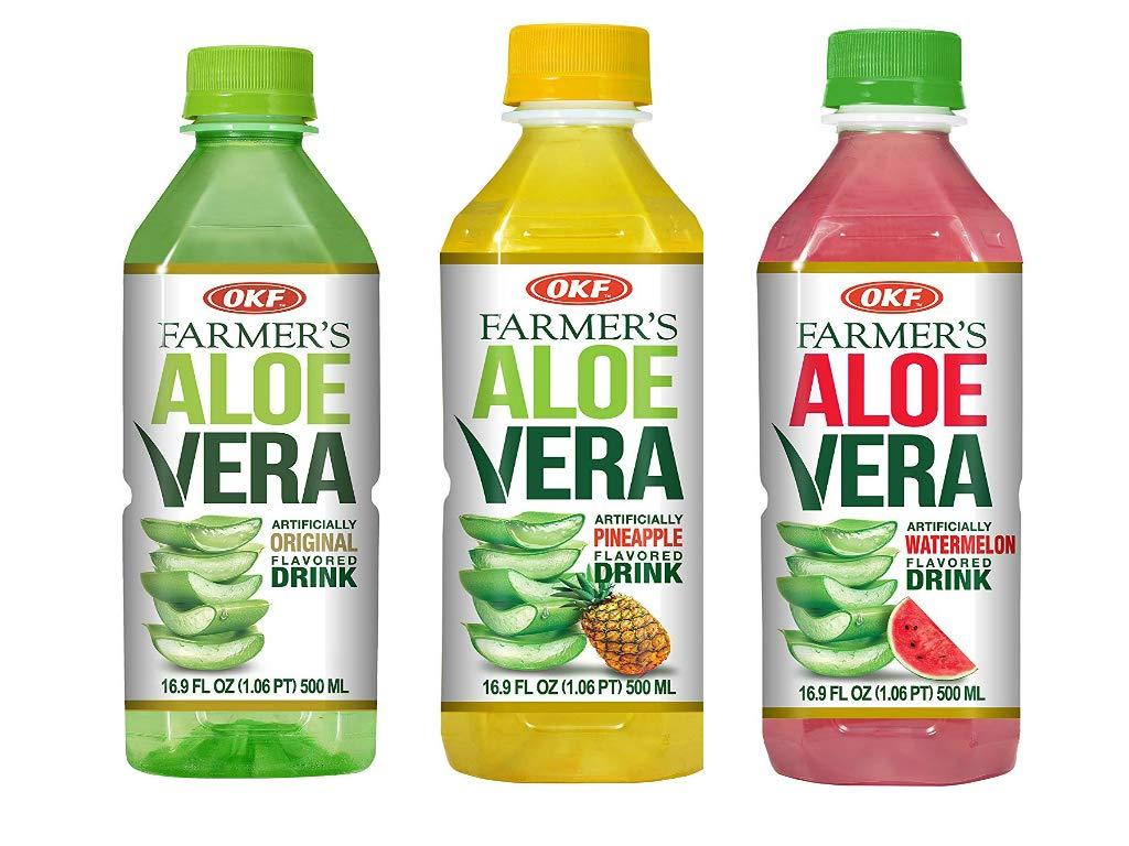 OKF Farmer's Aloe Vera Drink, Original, Pineapple and Watermelon, 16.9 Fluid Ounce (Pack of 20 each)