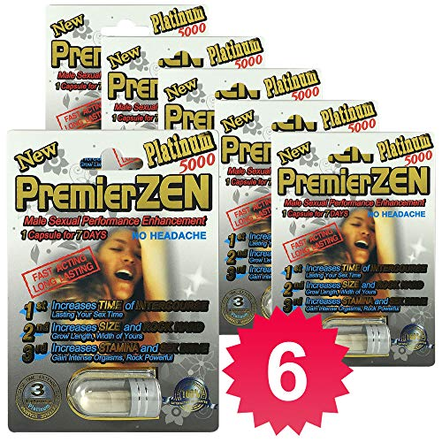 [Best Seller] PremierZen Platinum 5000 Male Enhancement Pills (6 Pills) Natural & Effective