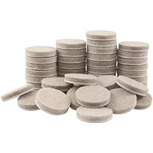SoftTouch 4719095N Self-Stick Round Felt Pads Protect Hard Floors from Furniture Scratches 1 Inch, Linen (48 Pieces)