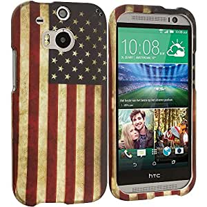Accessory Planet(TM) USA Flag 2D Hard Snap-On Design Rubberized Case Cover Accessory for HTC One M8