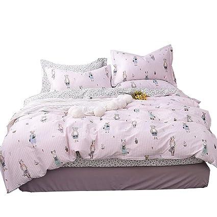 73b12e715cb7 OTOB New Cartoon Cat Bear Rabbit Twin Cute Duvet Cover Set for Kids Girls  100%