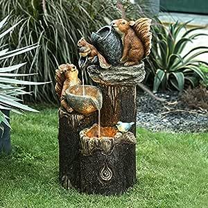 Water Fountains Outdoor, Squirrel/Duck Pressure Water Outdoor Fountain Statue, Cascading Freestanding Garden Decor Fountain Statue, Animals Airy Garden Figurines (A)