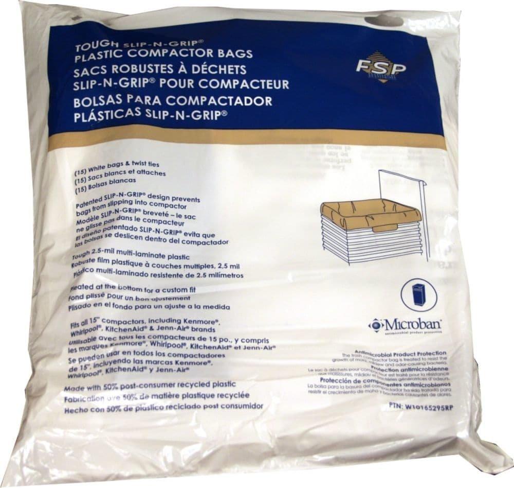 Whirlpool W10165295RP Trash Compactor Bag, 15-Pack Genuine Original Equipment Manufacturer (OEM) Part for Kitchenaid, Whirlpool, Kenmore, Maytag, Jenn-Air, Gladiator, Kenmore Elite