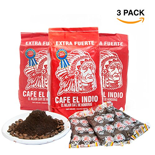 Cafe Molido - Coffee El Indio Extra Fuerte | Ground Strong Coffee From Honduras | 16 individual bags total of 1 ounce each | Guaranteed Best Coffee 100% Customer Satisfaction