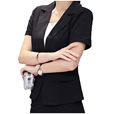 Comfy Women's Trim-Fit Short Sleeve OL Office Suit Jacket Blazer at Women's Clothing store