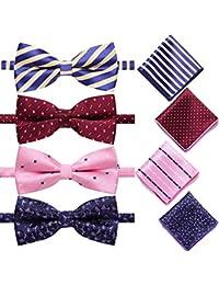 4 Pack Elegant Adjustable Pre-Tied Bow Tie Pocket Square Handkerchief set for Men Boys?