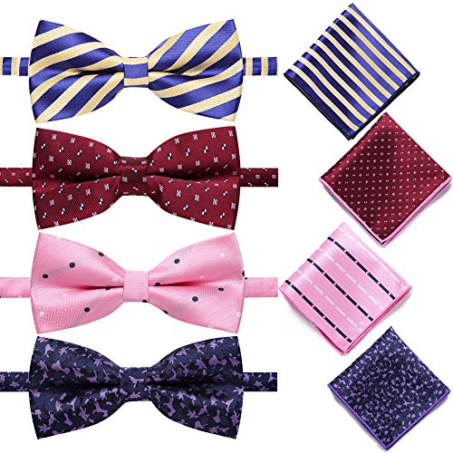 AUSKY 4 Pack Elegant Adjustable Pre-Tied Bow Tie Pocket Square Handkerchief set for Men Boys (4PACKS (Tie Pocket Hankie Set)