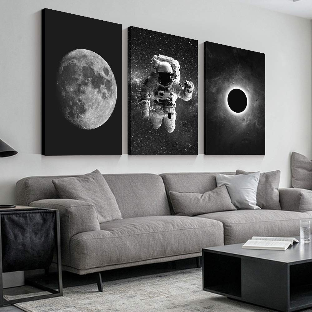 "SIGNFORD 3 Panel Canvas Wall Art Astronaut Grand Eclipse Moon Kids Canvas Painting Wall Decor for Living Room Framed Home Decorations - 16""x24"" x 3 Panels"