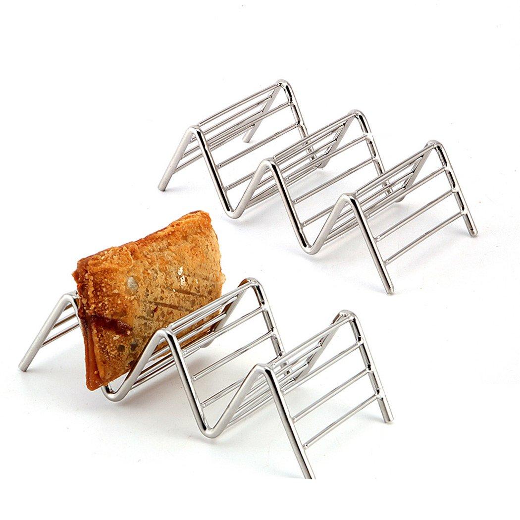 Sipliv juego de 3 tacos de acero inoxidable soporte de taco soporte de burrito espacio para 9 a 12 tacos de concha duros o blandos: Amazon.es: Hogar