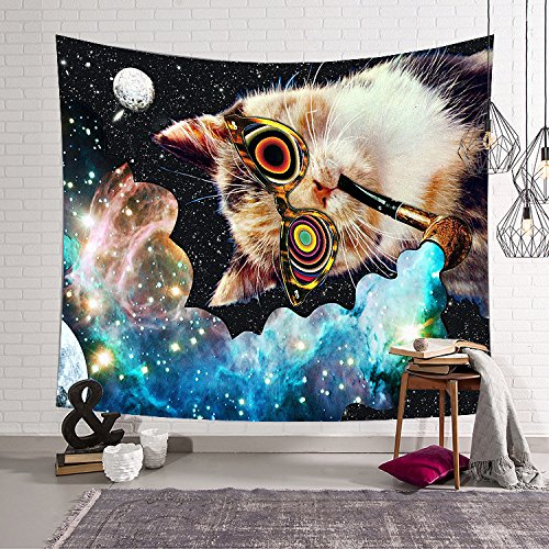 Funny Smoking Cat With Colorful Smoke Tapestry Hippie Mandala Wall Hanging Wall Art Indian Cotton Throw Tapestry Boho Blue Tapestries Hippie Bohemian Bedding Bedspread Yoga Beach (Smoking Cat)