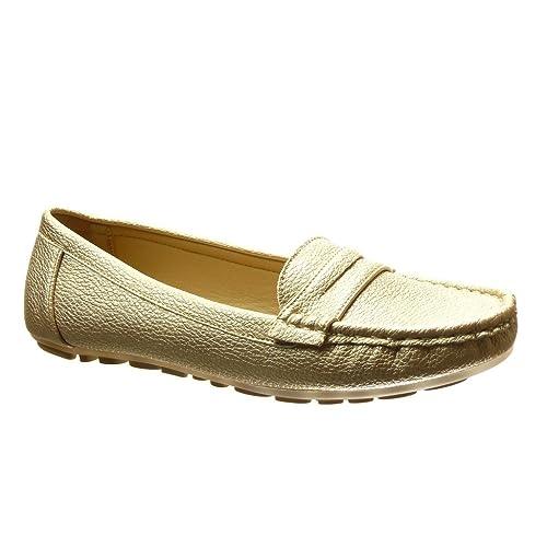 Angkorly - Zapatillas Moda Mocasines Slip-on Mujer Perforado tacón Plano 0 CM - Oro PA-12 T 37: Amazon.es: Zapatos y complementos