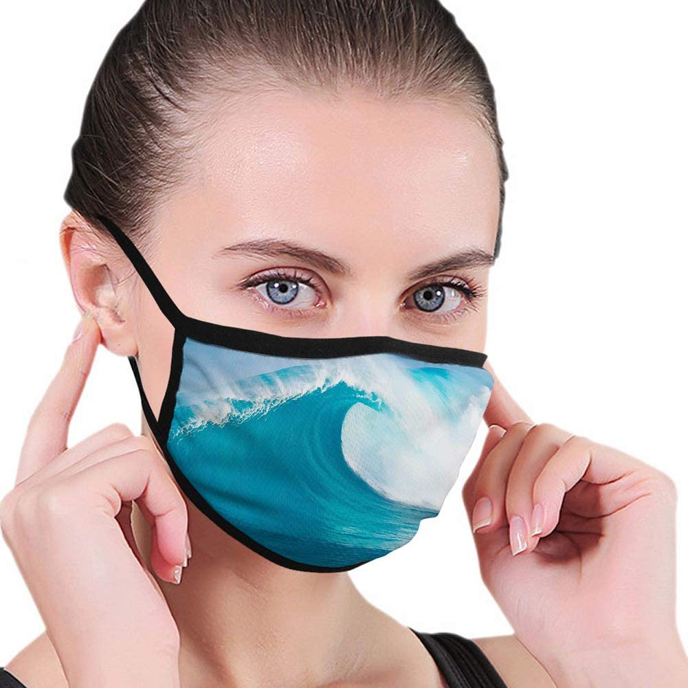 Scene of a Clean Big Sea Wave Moving Against Strong Wind Dust Washable Reusable Filter and Mouth Warm Windproof Cotton Face