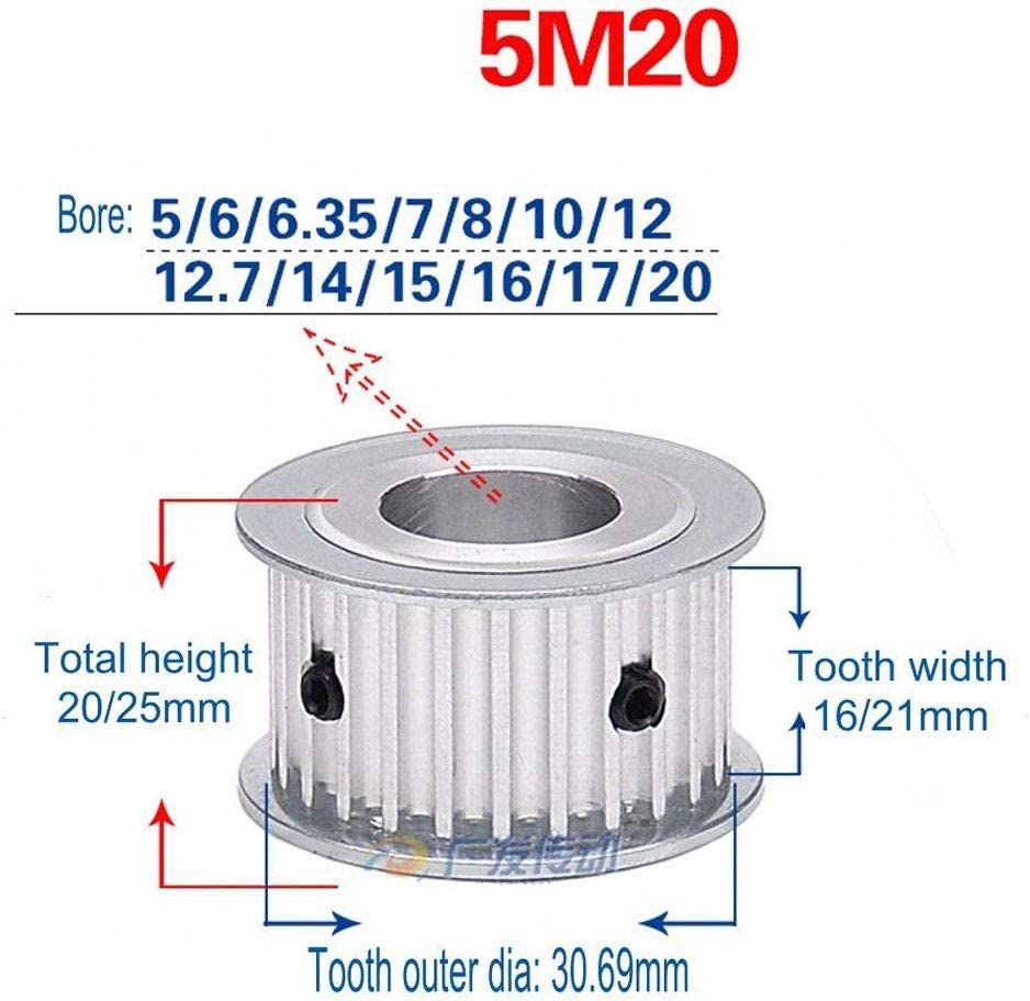 Tooth Width:16mm,Bore:12mm, 5M 40T 5M 40T Timing Pulley Without Step Synchronous Wheel 5mm Pitch 12mm Bore For 15mm Width Belt