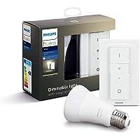 Philips Hue - Bombilla inteligente, E27, Luz cálida regulable, Mando inteligente incluido, 9W, Compatible con Alexa y…