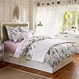 Brandream Multicolor Lavender Bedding Set Floral Printed Duvet Cover Set with Beautiful Flowers and Butterflies Pattern Design