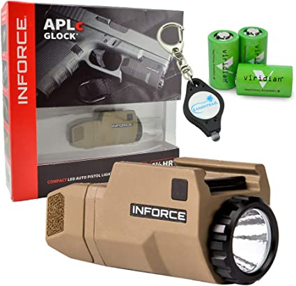 Not Glock InForce APLc Weapon Mounted Light 200 Lumens Bundle with 3 Viridian CR2 Batteries and a Lumintrail Keychain Light