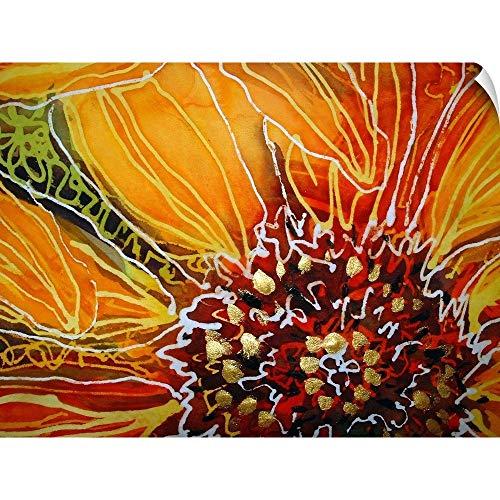 CANVAS ON DEMAND Batik Sunflower Heart Wall Peel Art Print, 24