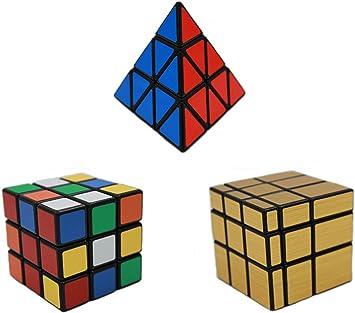 MEISHINE® 3 Pack Mágico Cube Mirror Cube,3x3x3 Magic Cube,Pyraminx Cubo Mágico Inteligencia Mágico Cubo de la Velocidad Juego de Puzzle Cube Speed Magic Cube (Style 2): Amazon.es: Juguetes y juegos