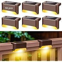 Zonnedek Verlichting, 10-pack hekpaal zonne-verlichting, zonne-trapverlichting buiten waterdicht, voor buitenpad, tuin…