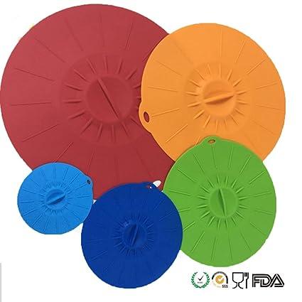wolecok irrompible silicona alimentos cubre tapas de succión de silicona cubiertas de cuenco para microondas,